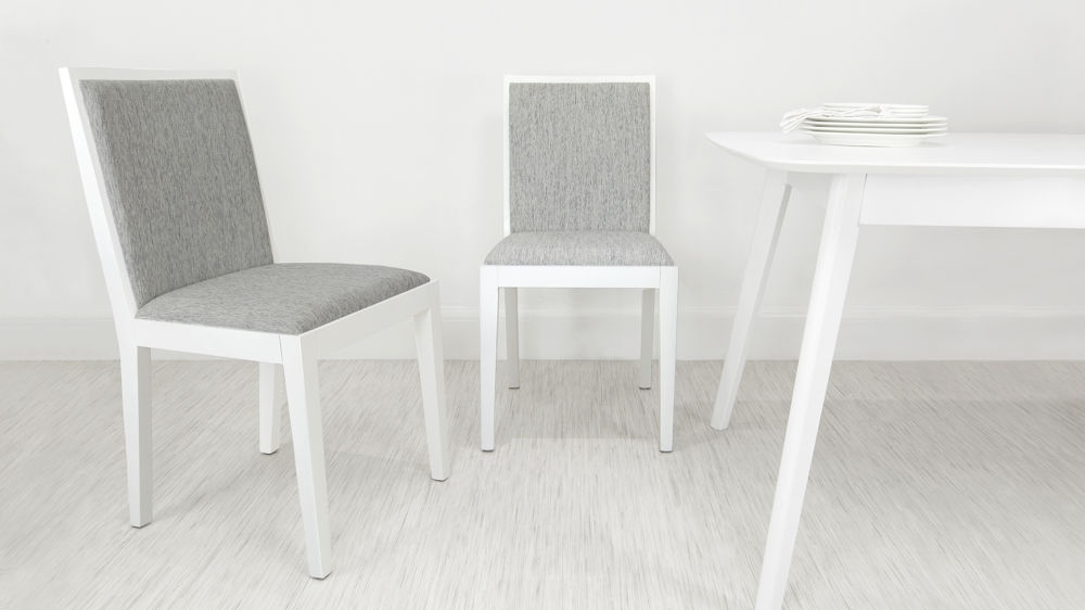 Modern White Oak Wooden Dining Chair | Grey Fabric Seat & Backrest Throughout White Dining Chairs (Image 18 of 25)