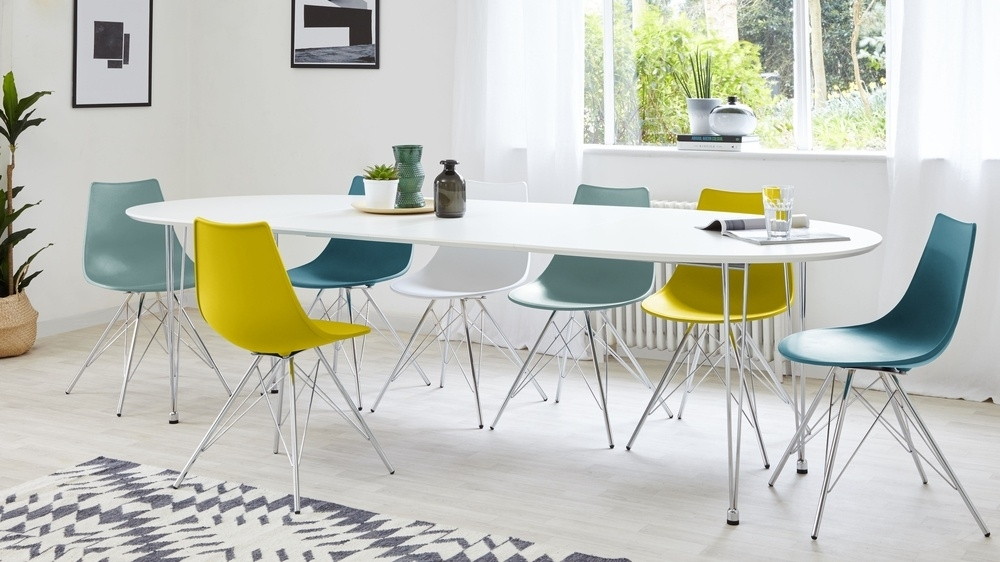 Modern White Satin Oval Extending Dining Table | 6 10 Seater Regarding White Oval Extending Dining Tables (Image 10 of 25)