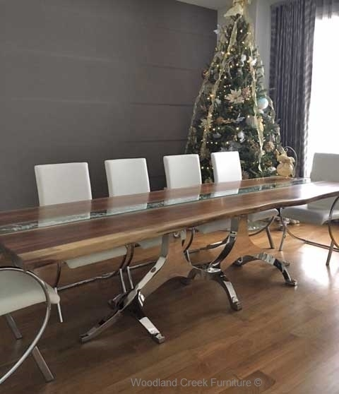 Modern Wood Dining Table, Natural Edges, Stainless Steel With Glass And Stainless Steel Dining Tables (View 15 of 25)