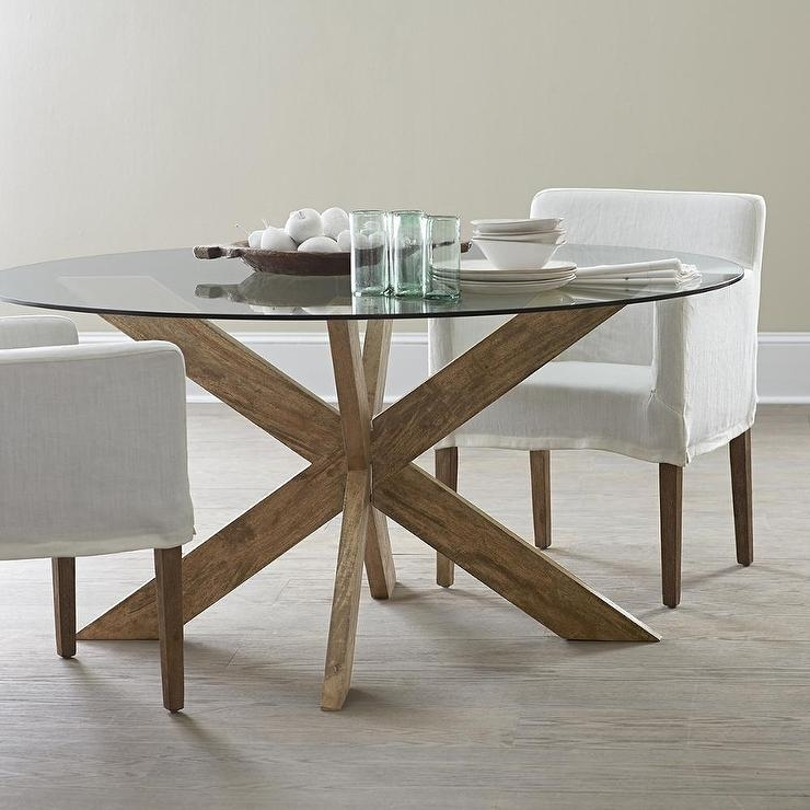 Modern X Base Dining Table In Brown Pertaining To Glass Dining Tables With Wooden Legs (View 9 of 25)