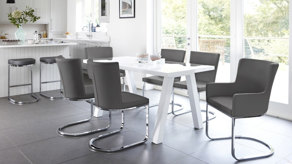 Modern Zen 6 Seater White Gloss And Oak Dining Table | Uk Intended For Gloss Dining Tables And Chairs (Image 18 of 25)