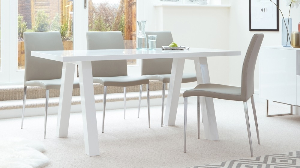 Modern Zen 6 Seater White Gloss And Oak Dining Table | Uk Pertaining To White Gloss Dining Room Tables (Image 17 of 25)