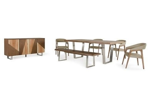 Modrest Byron Modern Walnut Dining Set | Products For Rocco 7 Piece Extension Dining Sets (Image 13 of 25)
