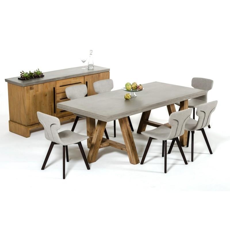 Modrest Civic Modern Concrete & Acacia Dining Table Inside Acacia Dining Tables (View 25 of 25)