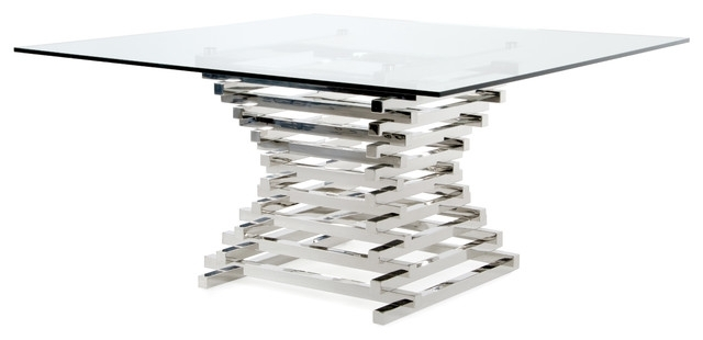 Modrest Crawford Contemporary Clear Glass Square Dining Table In Crawford Rectangle Dining Tables (View 16 of 25)