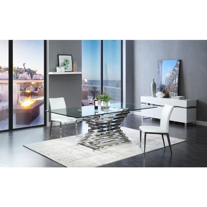 Modrest Crawford Modern Rectangular Glass Dining Table In Crawford 6 Piece Rectangle Dining Sets (Image 23 of 25)