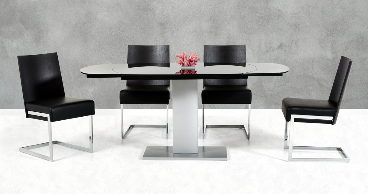 Modrest Obsidian Modern Black And Silver Extendable Dining Table Throughout Black Extendable Dining Tables And Chairs (Image 20 of 25)