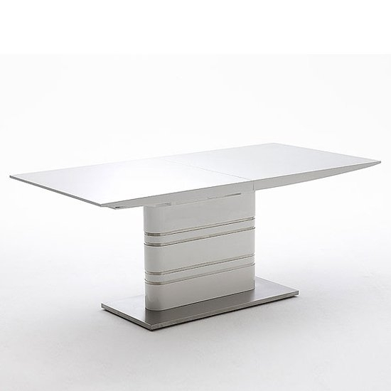 Modus Extending White Gloss Dining Table 19540 Furniture In In White Extending Dining Tables (Image 17 of 25)