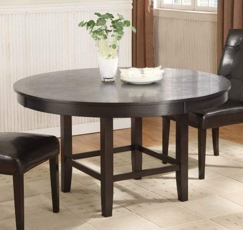 Modus Furniture 2Y2161R Bossa 54 Inch Round Dining Table, Dark In Valencia 3 Piece Counter Sets With Bench (View 9 of 25)