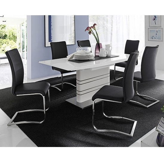 Modus White Gloss Extendable Dining Set And 6 Arco Black With Regard To Black Gloss Extending Dining Tables (Image 14 of 25)