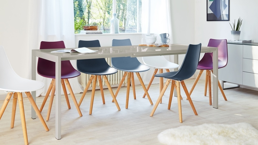 Molded Dining Chair | Plastic Dining Chair | Wooden Base In Colourful Dining Tables And Chairs (Image 21 of 25)
