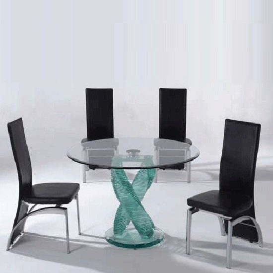 Monaco 4 Seater Dining Set In Clear Glass With Oslo Black Throughout Monaco Dining Sets (Image 13 of 25)