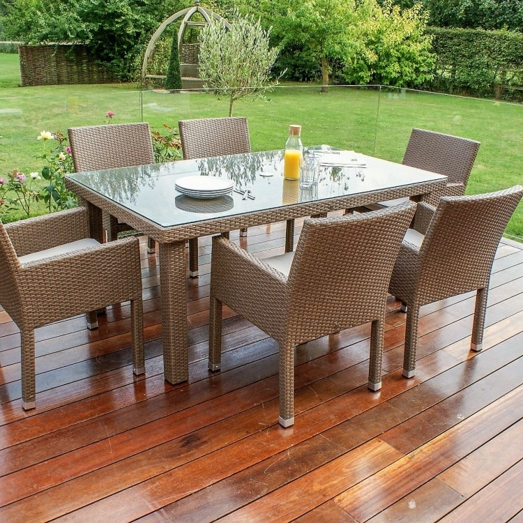 Monaco 6 Seat Dining Set | Weatherproof | Oak Furniture House Within Monaco Dining Sets (View 15 of 25)