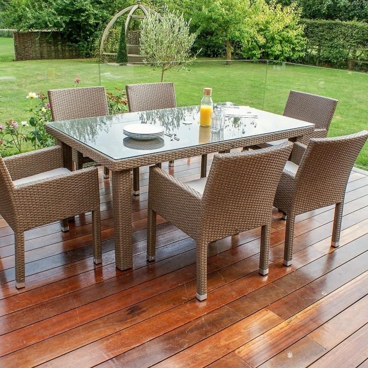Monaco 6 Seat Dining Set | Weatherproof | Oak Furniture House Within Monaco Dining Sets (Image 14 of 25)