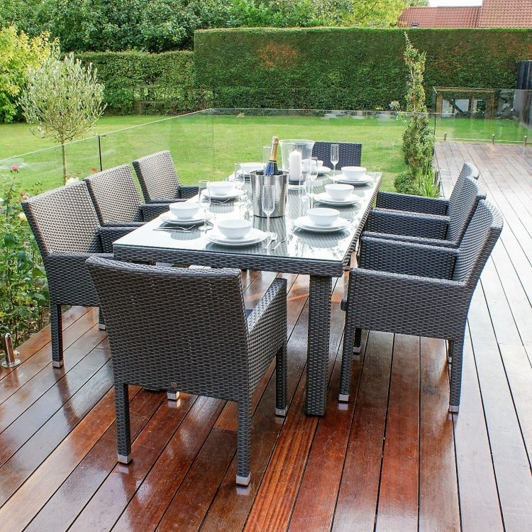 Monaco 8 Seat Dining Set Grey | Weatherproof | Oak Furniture House Intended For Monaco Dining Sets (Image 15 of 25)