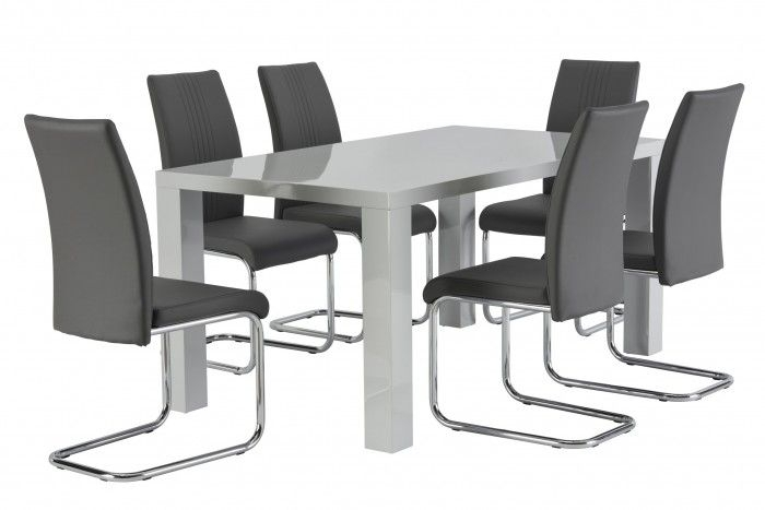 Monaco Grey Dining Set | Dining Sets, Monaco And Chrome Pertaining To Monaco Dining Sets (Image 17 of 25)