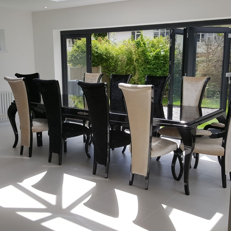 Monaco High Gloss 3M Bespoke Non Extending Dining Table : F D For Black Gloss Dining Furniture (Image 16 of 25)