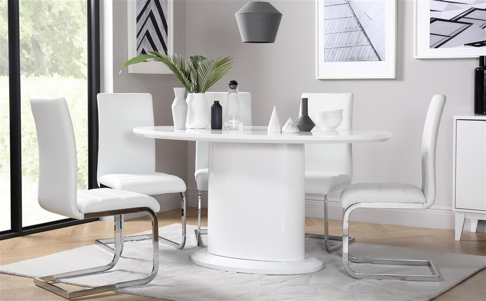 Monaco & Perth White High Gloss Oval Dining Table & 4 6 Leather Within Perth White Dining Chairs (Image 12 of 25)