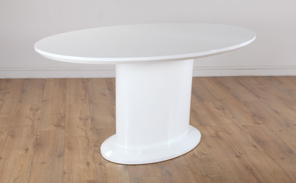 Monaco & Perth White High Gloss Oval Dining Table & 4 6 Leather Within White High Gloss Oval Dining Tables (Image 10 of 25)