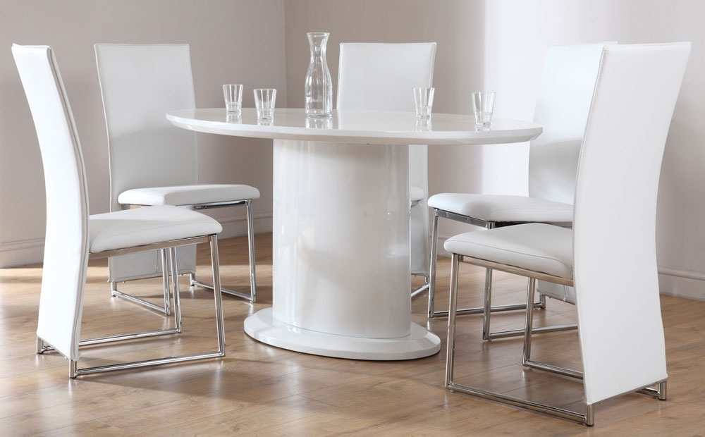 Monaco White High Gloss Oval Dining Table And 4 Chairs Set, White With Regard To Oval White High Gloss Dining Tables (View 23 of 25)