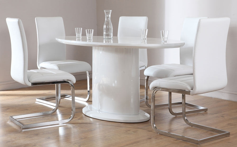 Monaco White High Gloss Oval Dining Table And 4 Chairs Set With High Gloss White Dining Chairs (View 14 of 25)