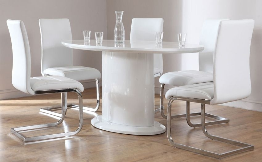Monaco White High Gloss Oval Dining Table And 6 Chairs Set (Perth Pertaining To Perth White Dining Chairs (Image 13 of 25)