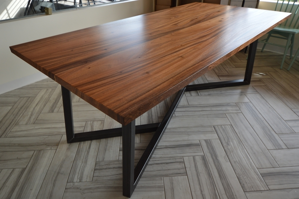 Monkeypod Dining Table With Metal Base Pertaining To Dining Tables With Metal Legs Wood Top (Image 13 of 25)