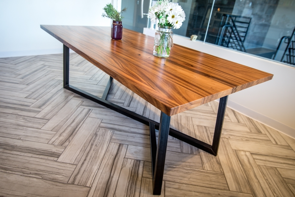 Monkeypod Table With Metal Base Inside Dining Tables With Metal Legs Wood Top (View 5 of 25)