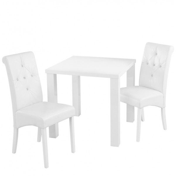Monroe White High Gloss Small Dining Table And Chairs For Small White Dining Tables (View 6 of 25)