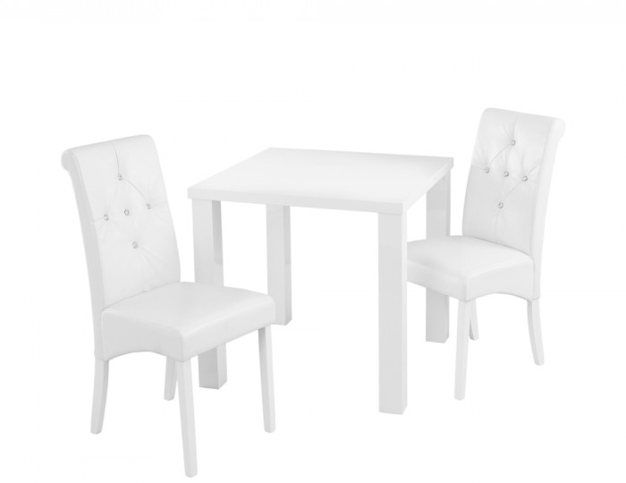 Monroe White High Gloss Small Dining Table And Chairs Intended For High Gloss Dining Tables Sets (Image 19 of 25)