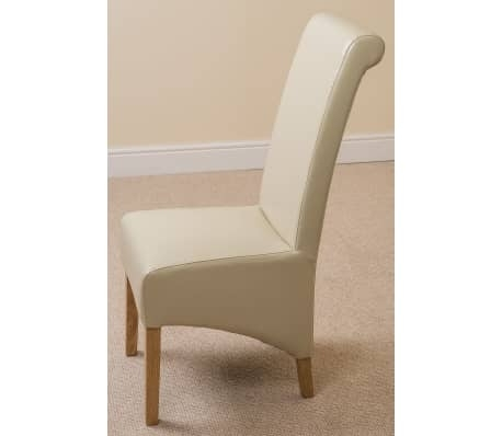 Montana Scroll Back Ivory Leather Dining Chair | Vidaxl.co (View 21 of 25)