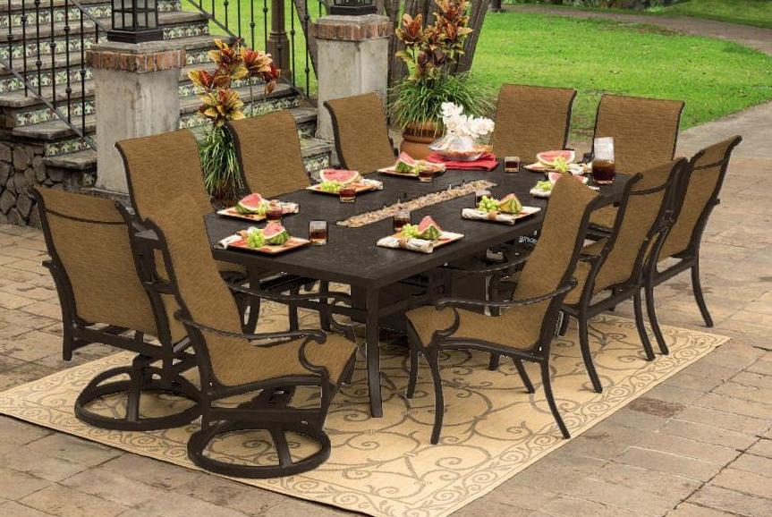 Monterey 9 Piece Dining Setprestige | Scioto Valley | Outdoor Regarding Lassen 7 Piece Extension Rectangle Dining Sets (View 10 of 25)