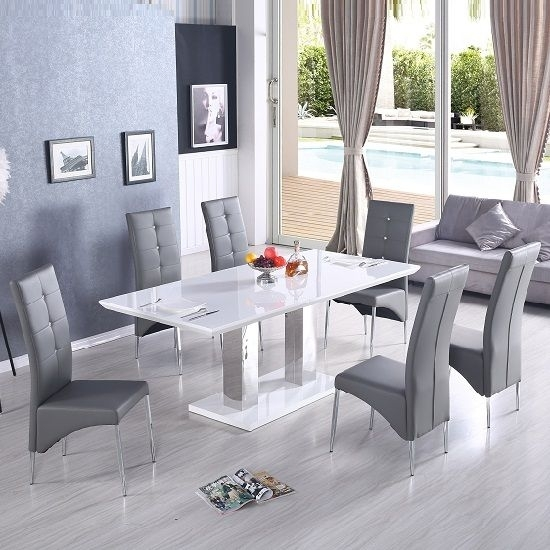 Monton Extendable Dining Table In White With 6 Vesta Grey Chairs With Hi Gloss Dining Tables Sets (Image 16 of 25)