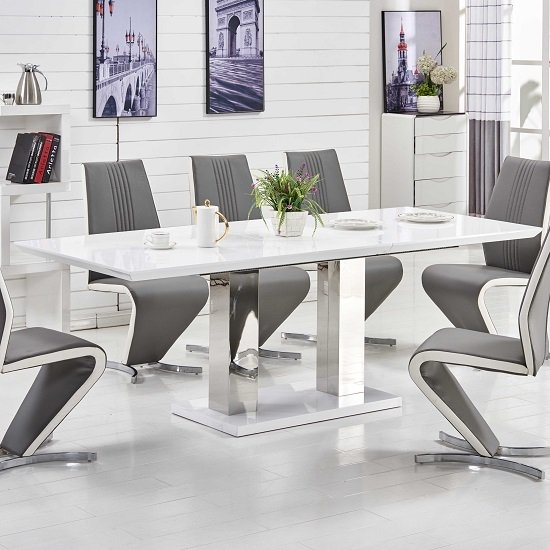 Monton Extendable Dining Table Large In White High Gloss Inside Large White Gloss Dining Tables (Image 22 of 25)