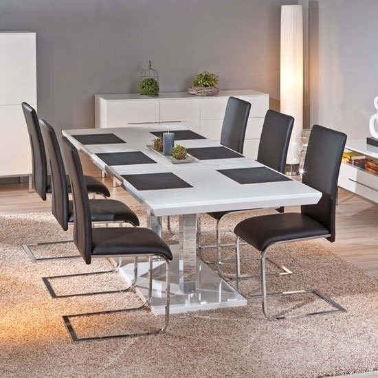 Monton Extendable White Gloss Dining Table With 6 Trishell Within White Gloss Dining Tables And 6 Chairs (View 3 of 25)