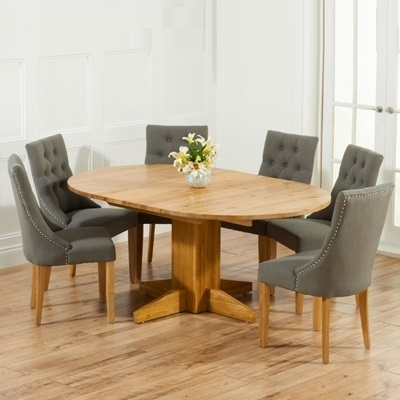 Monty Solid Oak Extending Round Dining Table With 6 Primly Grey Intended For Extending Round Dining Tables (Image 17 of 25)