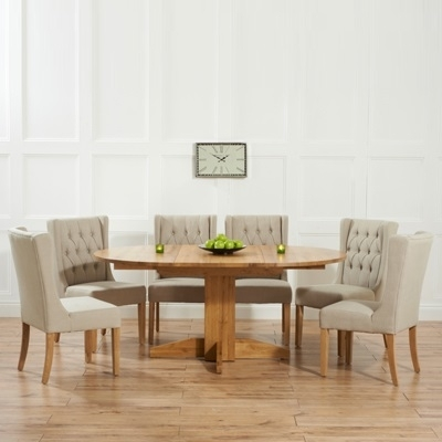 Monty Solid Oak Extending Round Dining Table With 6 Sophia Beige Pertaining To Extending Round Dining Tables (Image 18 of 25)