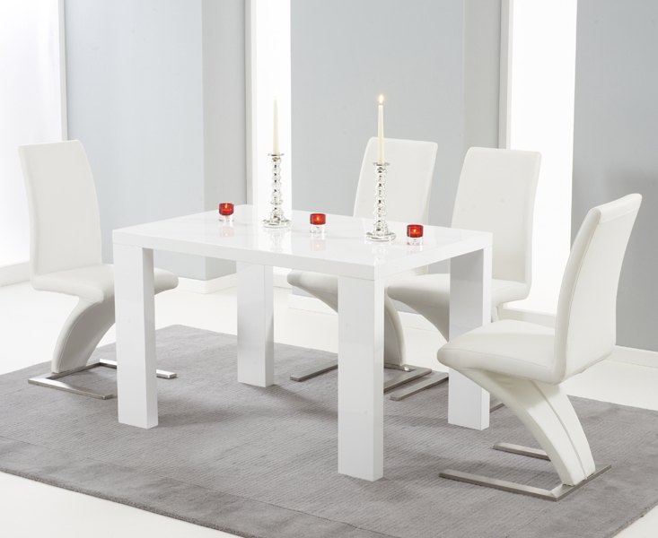Monza 120Cm White High Gloss Dining Table With Hampstead Z Chairs Intended For High Gloss Dining Room Furniture (Image 17 of 25)