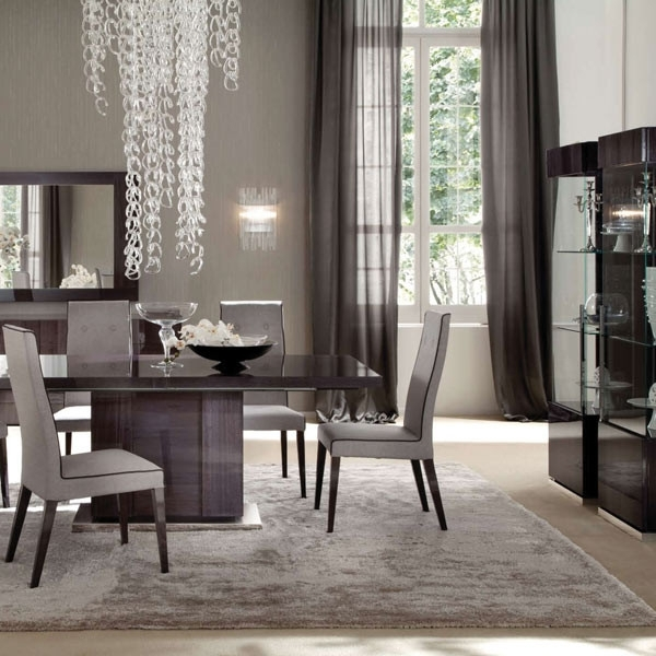 Monza High Gloss Extending Large 196Cm Dining Table & 6 Fabric Chairs In Dining Tables And Fabric Chairs (Image 20 of 25)