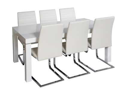 Morano Dining Table And 4 Alcora Chairs In White | Dining Room Throughout Alcora Dining Chairs (Image 21 of 25)