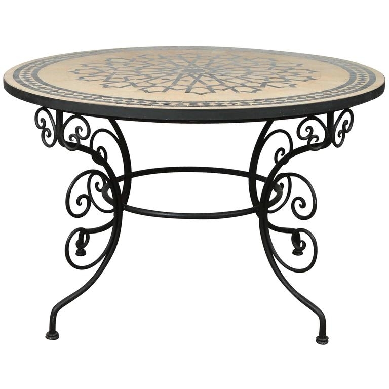 Moroccan Outdoor Round Mosaic Tile Dining Table On Iron Base 47 In With Mosaic Dining Tables For Sale (Image 10 of 25)