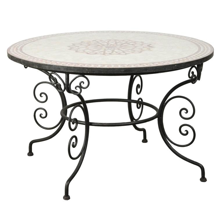 Moroccan Outdoor Round Mosaic Tile Dining Table On Iron Base 47 In Within Mosaic Dining Tables For Sale (Image 11 of 25)