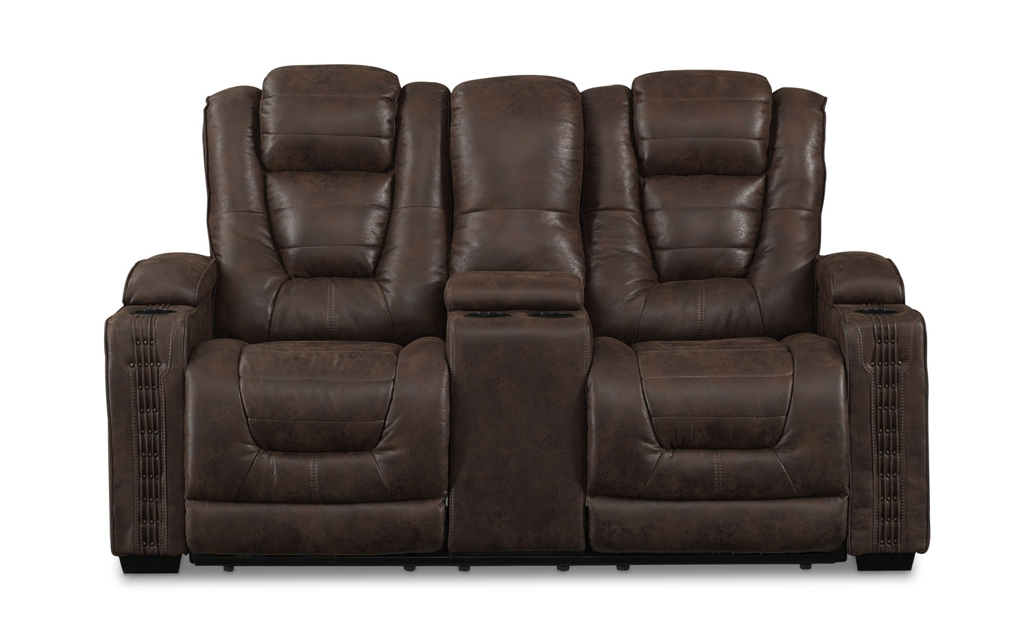 Morph Power Reclining Loveseat With Console | Hom Furniture For Denali Light Grey 6 Piece Reclining Sectionals With 2 Power Headrests (Image 16 of 25)