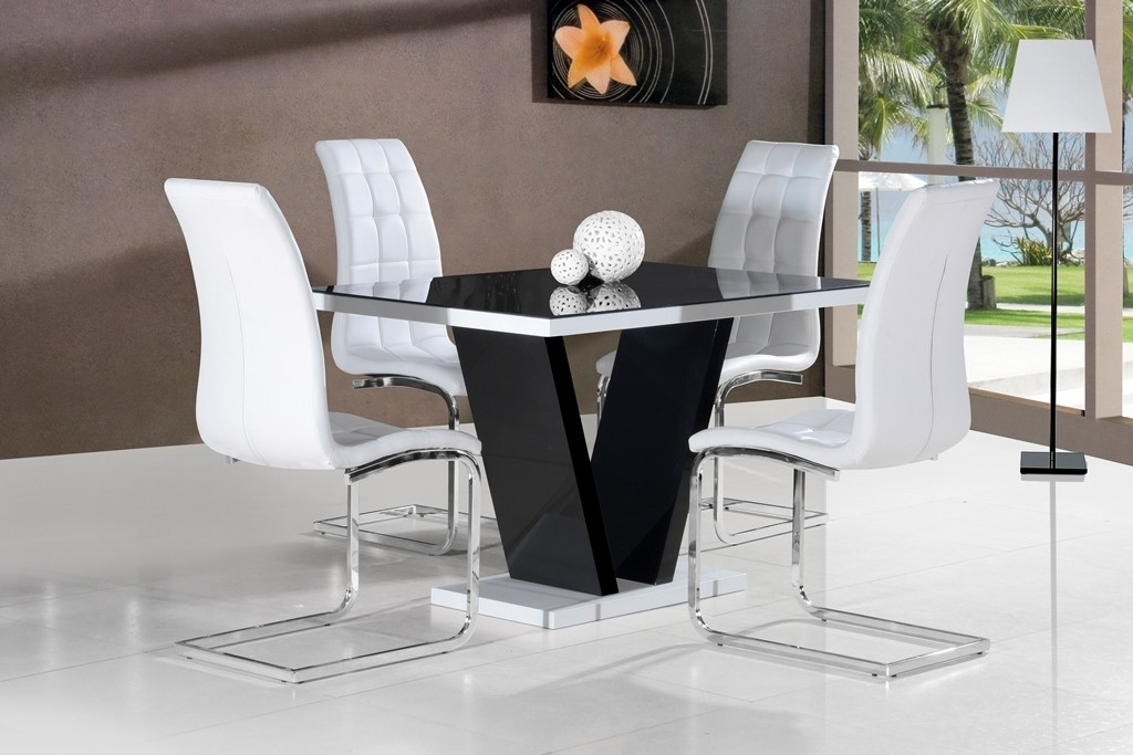 Mozart Black High Gloss Dining Table 120Cm Or 160Cm Within Black Gloss Dining Room Furniture (Image 17 of 25)