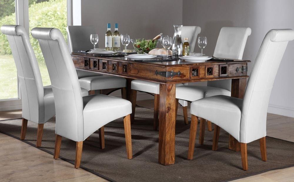 Mumbai & Boston Sheesham Dining Set (White) – Dining Table And 4 6 With Sheesham Dining Tables 8 Chairs (Image 15 of 25)