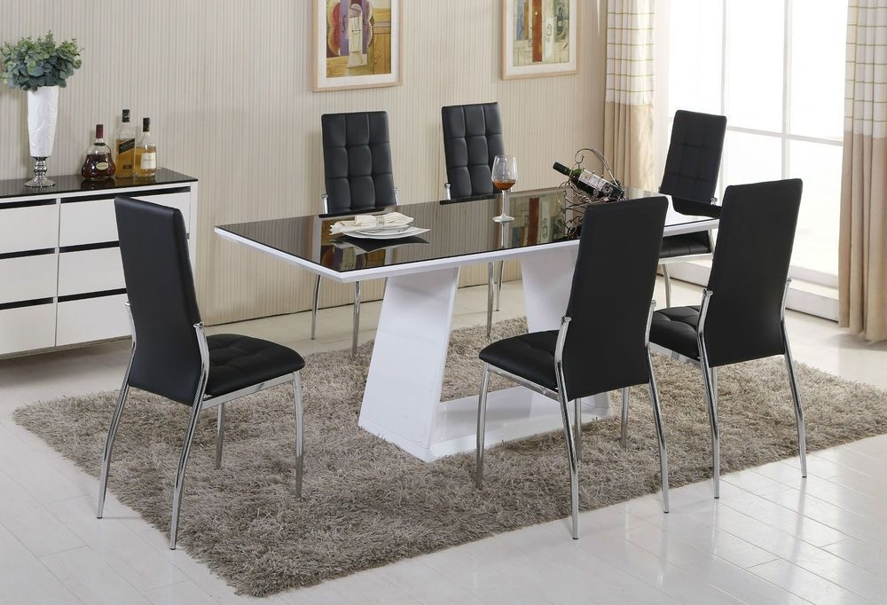 Murano Black/white High Gloss Glass Dining Table Set And 6 Leather With Regard To Delfina 7 Piece Dining Sets (View 14 of 25)