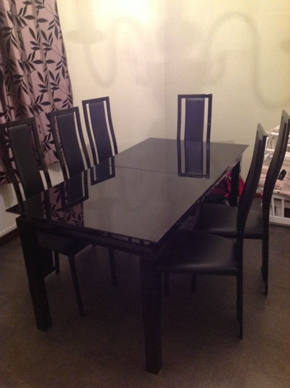 Must Go! Harvey Black Glass 'noir' Extending Dining Table And 6 With Regard To Black Glass Extending Dining Tables 6 Chairs (Image 15 of 25)