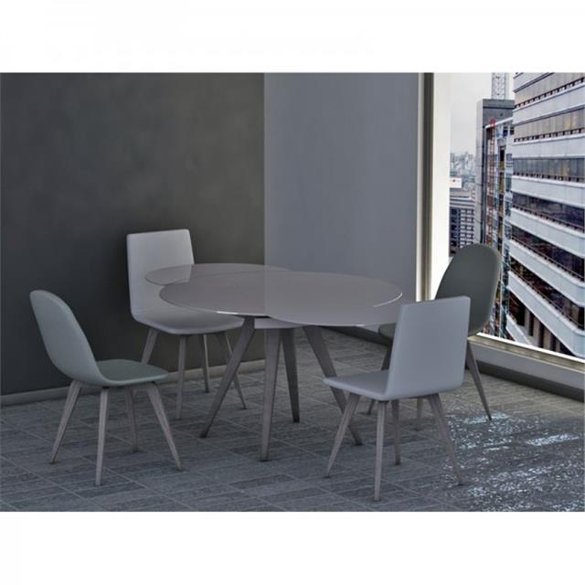 Myles Circular Extending Dining Table Throughout Glass Round Extending Dining Tables (Image 16 of 25)