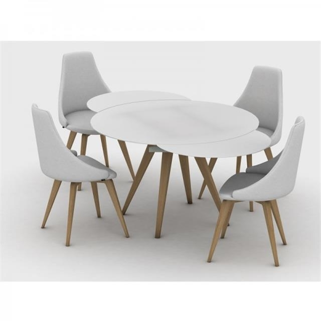 Myles Circular Extending Dining Table With Round Extending Dining Tables And Chairs (Image 17 of 25)