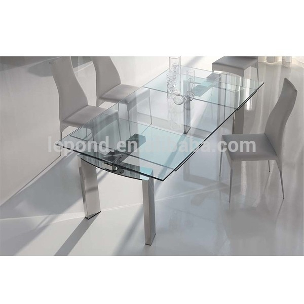 N128 Sharp Glass Extendable Dining Table Designs,new Design Products in Glass Folding Dining Tables